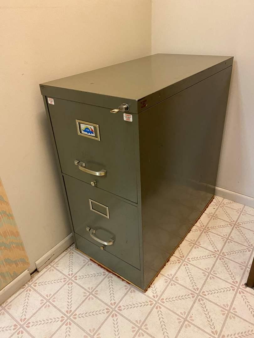 Lot # 233 - Two Drawer Locking Metal File Cabinet (main image)