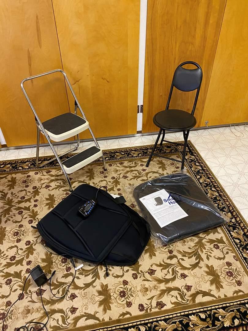 Lot # 240 - Two Folding Stools, Homedics Chair Massage Pad, Smart Home Chair Pad & More (main image)