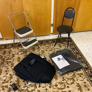 Lot # 240 - Two Folding Stools, Homedics Chair Massage Pad, Smart Home Chair Pad & More
