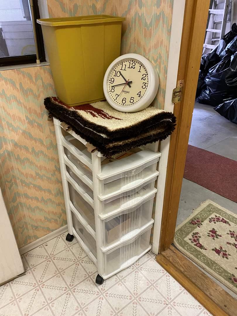 Lot # 245 - Storage Cart, Wall Hanging, Clock, Trashcan & More (main image)