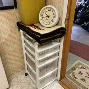 Lot # 245 - Storage Cart, Wall Hanging, Clock, Trashcan & More