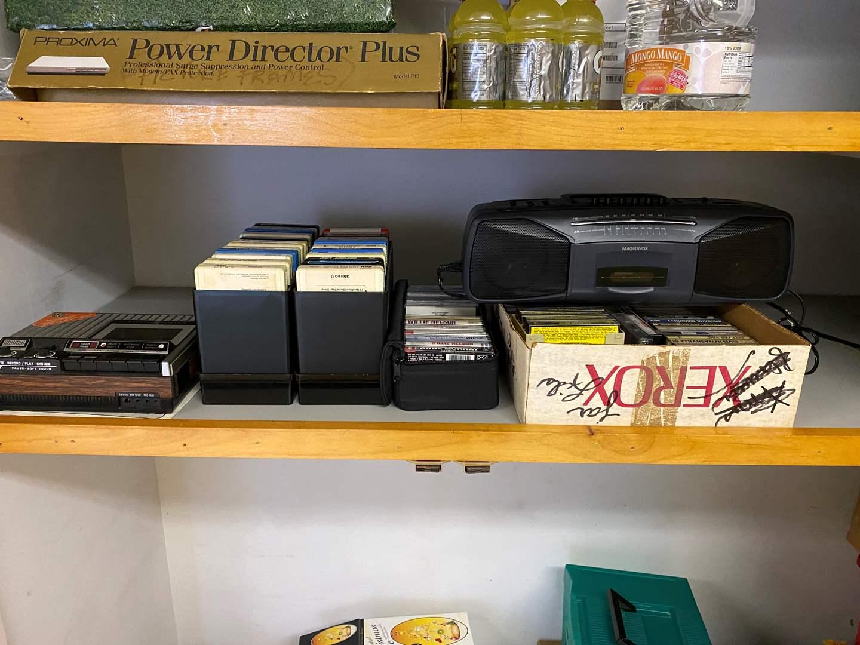 Lot # 246 - Vintage GE Tape Recorder, 8-Track Tapes, Cassettes, Magnavox Boom Box (main image)