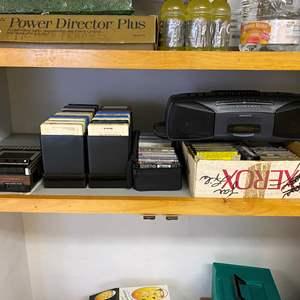 Lot # 246 - Vintage GE Tape Recorder, 8-Track Tapes, Cassettes, Magnavox Boom Box