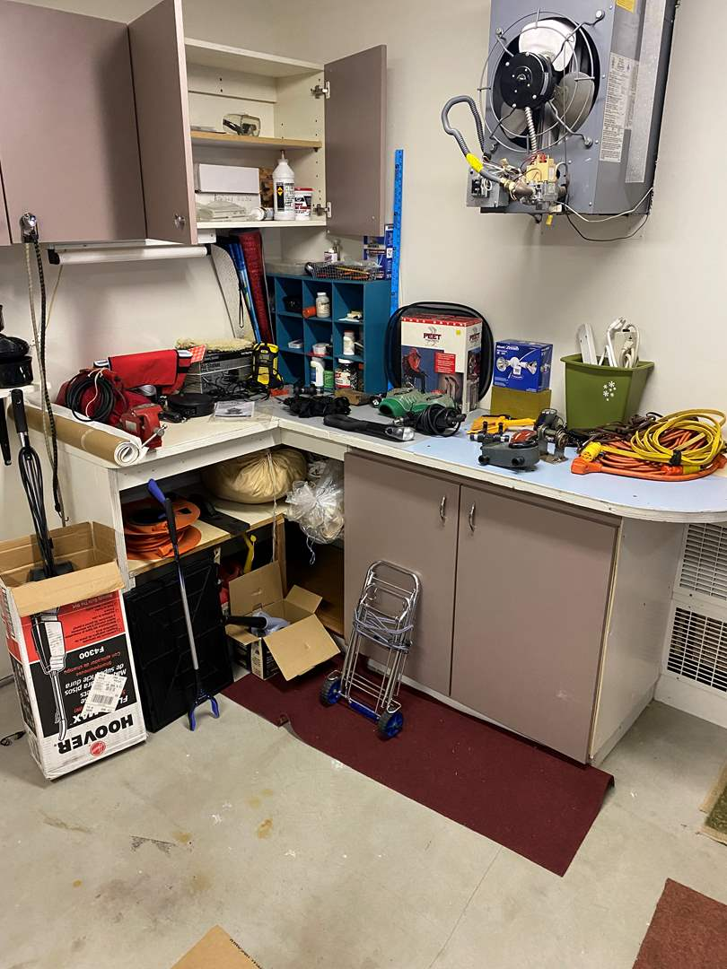 Lot # 256 - Tools, Hoover Floor Cleaner, Extension Cords, Gas Cans, Tarps, Hardware & More (main image)