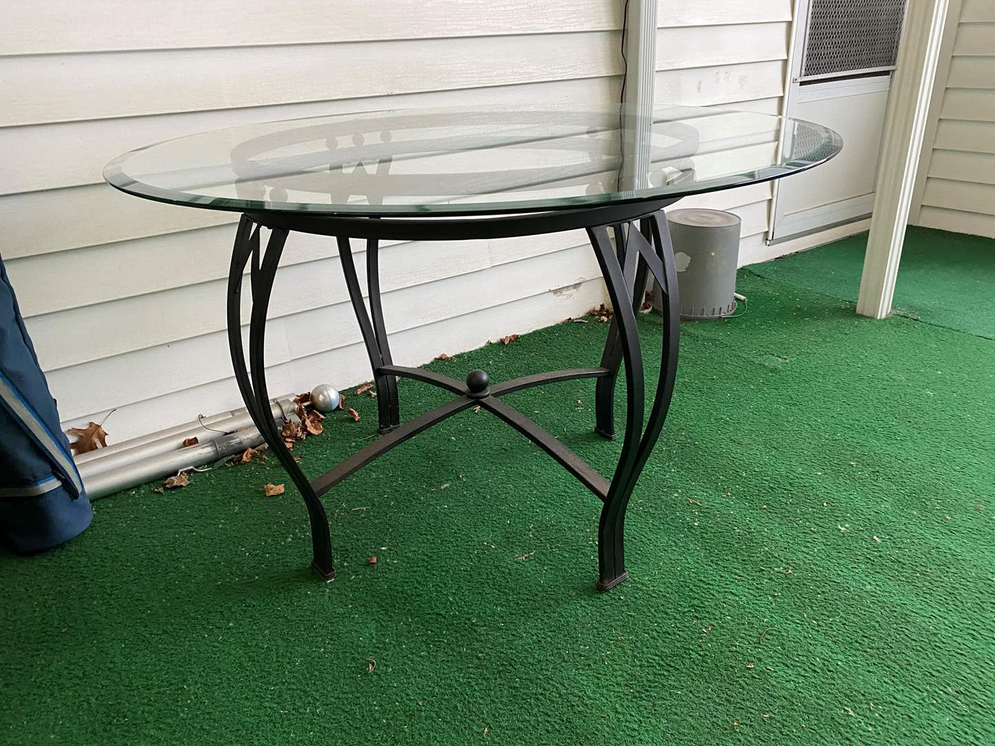 Lot # 259 - Metal Patio Table w/ Beveled Glass Top (main image)