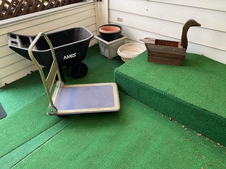 Lot # 263 - Ames Garden Cart, Metal Flat Cart, Flowerpots (main image)