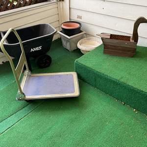 Lot # 263 - Ames Garden Cart, Metal Flat Cart, Flowerpots