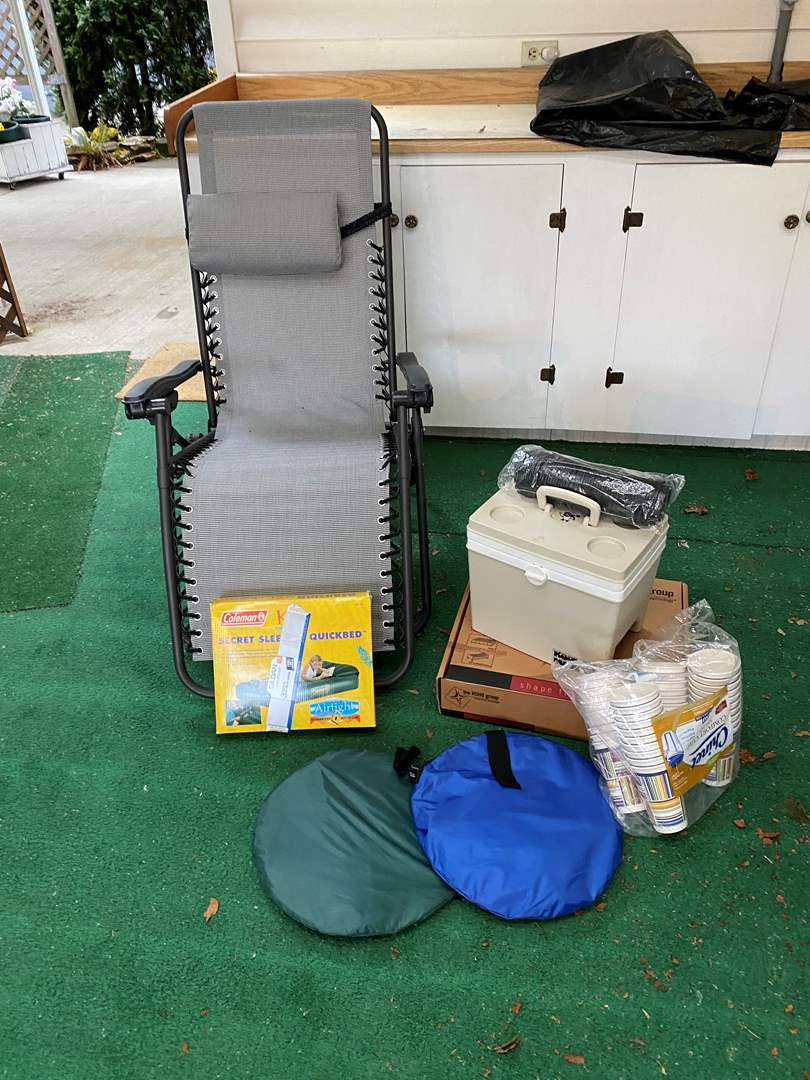 Lot # 264 - Folding Reclining Outdoor Chair, Electric Cooler, New Wheelchair Pad, 2 Pop-ups, New Coleman Kids Inflatable Bed (main image)