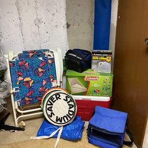 Lot # 277 - New Coleman Sleeping Bag, Coleman Cooler, Chairs & More