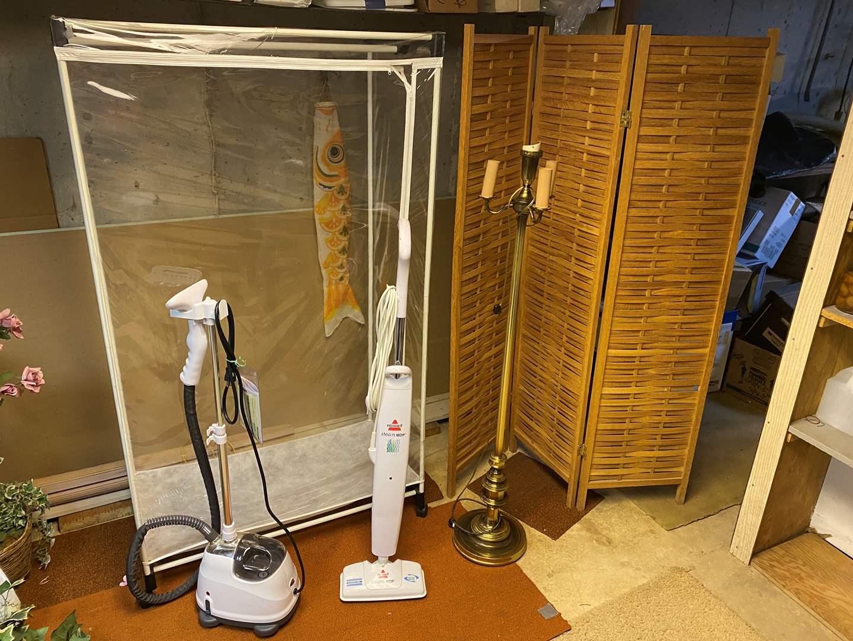 Lot # 280 - Clothes Steamer, Bissel Steam Mop, Vintage Floor Lamp, Room Divider, Portable Closet. (main image)