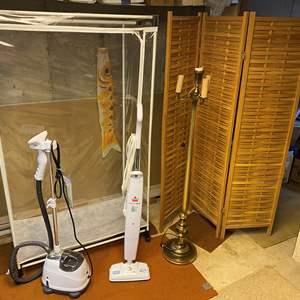 Lot # 280 - Clothes Steamer, Bissel Steam Mop, Vintage Floor Lamp, Room Divider, Portable Closet.
