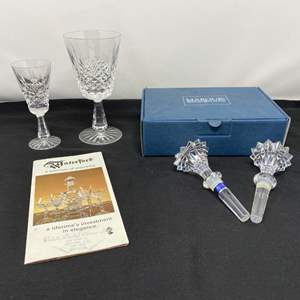 Lot # 101 - Two Waterford Crystal Wine Glasses, Two Marquis by Waterford Bottle Stoppers