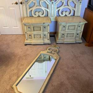 Lot # 161 - Vintage Stanley Furniture Queen Size Headboard, Night Stands, & Hanging Wall Mirror