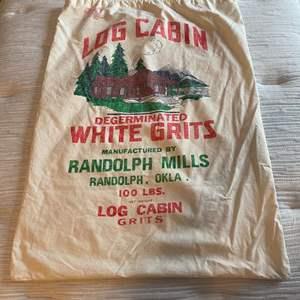 Lot # 173 - Vintage Log Cabin 100 lbs. White Grits Cloth Bag