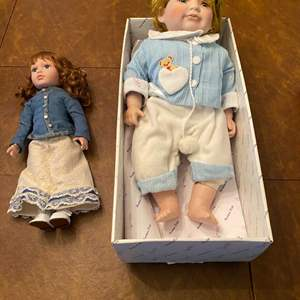 Lot # 215 - Two Duck House Heirloom Dolls: One Porcelain & One Plastic