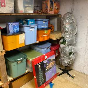 Lot # 278 - Bins Full of Fall Harvest, Halloween & Xmas Decorations & Ornaments - (See Pictures)
