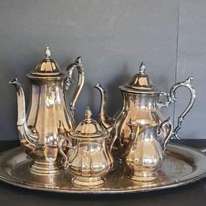 Lot # 28 Silver plated Tea Set