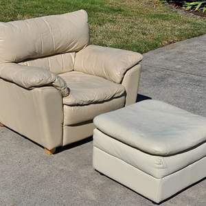 Lot # 35 Leather Chair & Ottoman