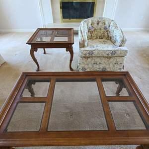 Lot # 36 Leggett & Platt Swivel Chair with Coffee Table & End Table