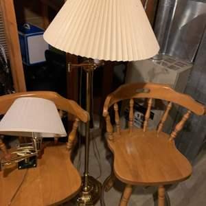 Lot # 65 3 Barstools, Floor Lamp & Matching Wall Lamp
