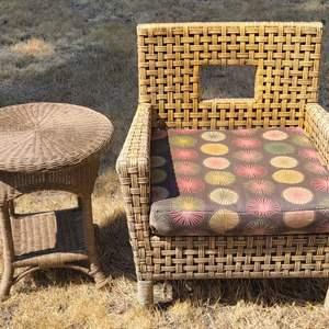 Lot # 102 Ratan/Wicker Chair & Table