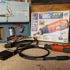 Lot # 111 Hobby Tools Lot ~ Rotary Tool with Foot Control & Paasche Air Eraser