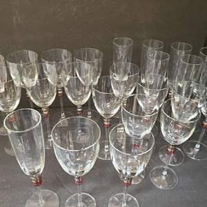Lot # 63 Set of Champagne & Wine Glasses
