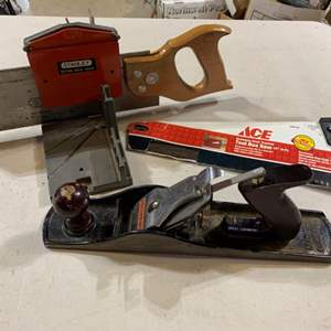 Lot # 113 Mitre Box with Saw, Hand Planer & Toolbox Saw