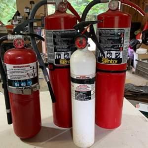 Lot # 115 Lot of 4 Large & Medium Fire Extinguishers