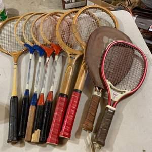 Lot # 120 Vintage Rackets ~ Tennis, Racquetball, Badminton