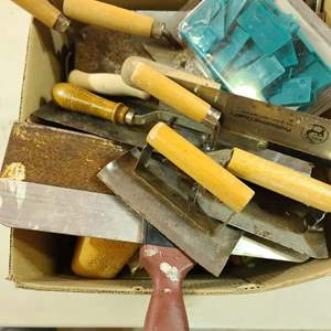 Lot # 239 Assorted Masonry/Tile Trowels & More