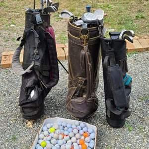 Lot # 257 Golf Clubs, Balls & Bags