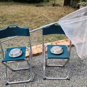 Lot # 280 Coleman Folding Camp Chairs, Hiking Dishware & Net