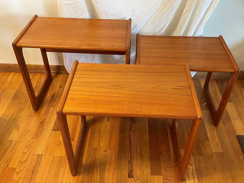 Lot # 4 - Set of (3) Mid Century Modern Salin Nyborg Teak Nesting Tables (main image)