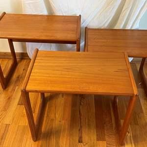Lot # 4 - Set of (3) Mid Century Modern Salin Nyborg Teak Nesting Tables