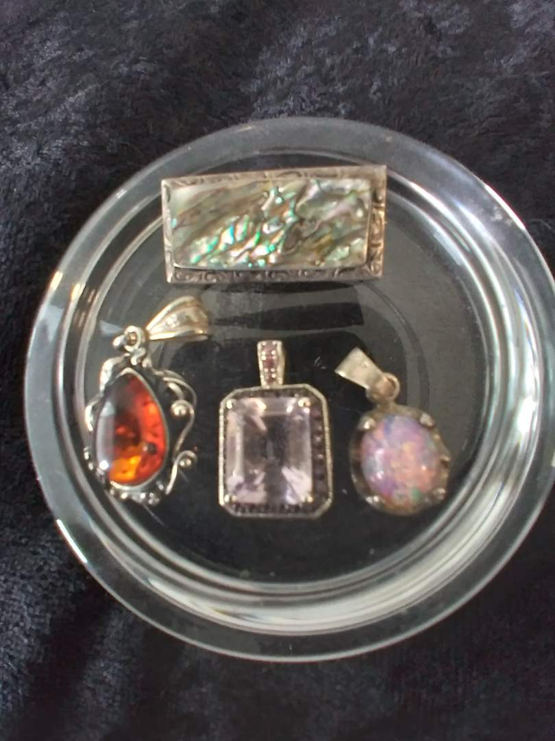 Lot # 33 - Lot of (3) Sterling Silver Pendants w/Stones and Vintage Abalone Brooch/Pin (main image)