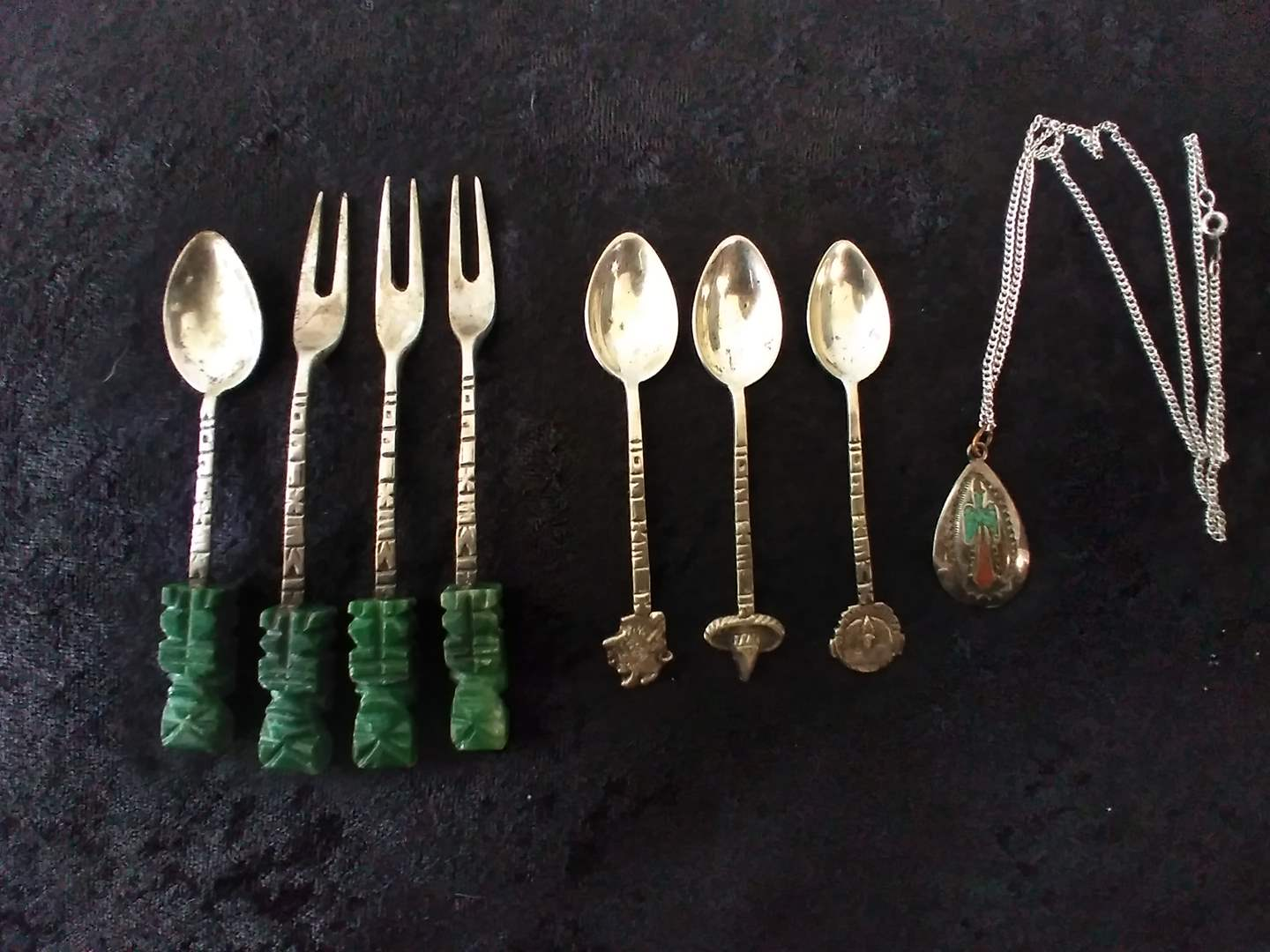 Lot # 34 - Signed Southwest Necklace and Lot of Mexican Silver/Jade Souvenir Forks (main image)