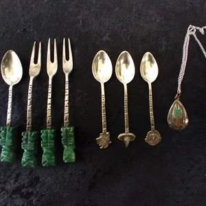 Lot # 34 - Signed Southwest Necklace and Lot of Mexican Silver/Jade Souvenir Forks