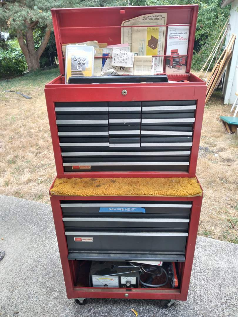 Lot # 70 - Craftsman Sears Rolling Tool Chest (Full of Tools) (main image)