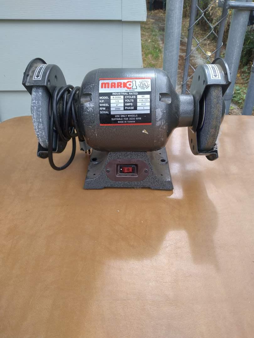 Lot # 74 - Mark1 B-309 Ball Bearing Electric Bench Grinder (main image)