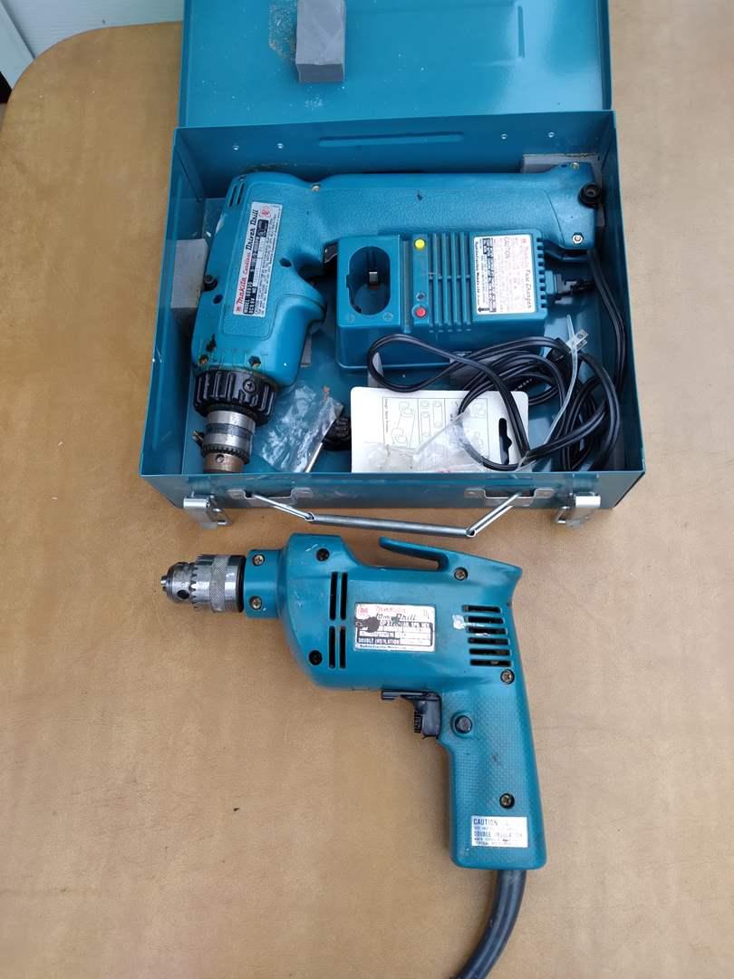 Lot # 75 - Two Makita Drills (10mm corded, 9.6V cordless) (main image)