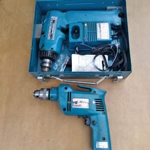 Lot # 75 - Two Makita Drills (10mm corded, 9.6V cordless)