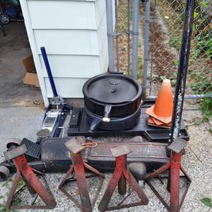 Lot # 76 - Jack Stands, Two Floor Jacks, Roller Board Creeper, Cones, and Drain Pans