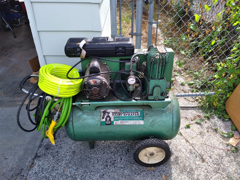 Lot # 77 - Sears Air Compressor Paint Sprayer and New Compressor Hose (main image)