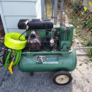 Lot # 77 - Sears Air Compressor Paint Sprayer and New Compressor Hose