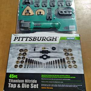 Lot # 79 - Pittsburg Metic 45pc Tap & Die Set and FastCraft Oscillating Multitool 42pc Power Bundle