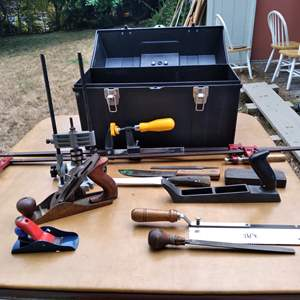 Lot # 82 - Toolbox with Planes, Guides, Variety of Clamps and Vintage Hand Saw and Planer
