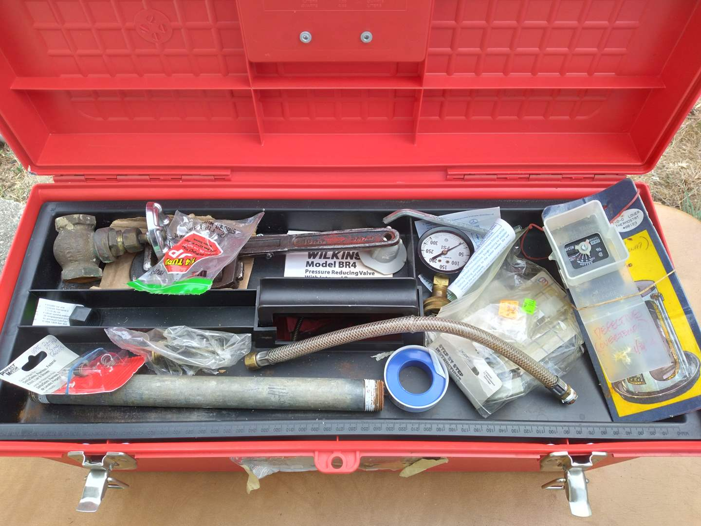 Lot # 83 - Plumbing Tool Box w/Vintage Pipe Wrenches (main image)
