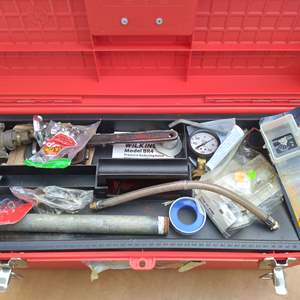 Lot # 83 - Plumbing Tool Box w/Vintage Pipe Wrenches