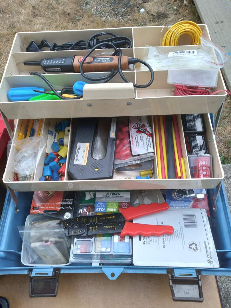 Lot # 84 - Electrical Compartment Craftsman Tool Box with Craftsman Cresent Wrenches and more (main image)